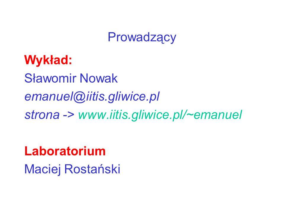 ProwadzącyWykład: Sławomir Nowak. emanuel@iitis.gliwice.pl. strona -> www.iitis.gliwice.pl/~emanuel.