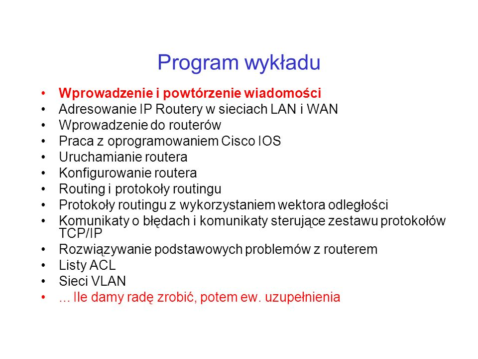 Program wykładu Wprowadzenie i powtórzenie wiadomości
