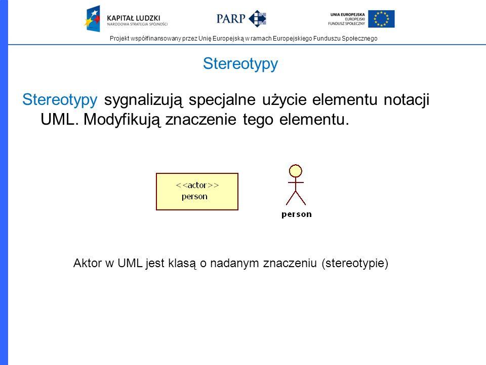 Stereotypy Stereotypy sygnalizują specjalne użycie elementu notacji UML. Modyfikują znaczenie tego elementu.
