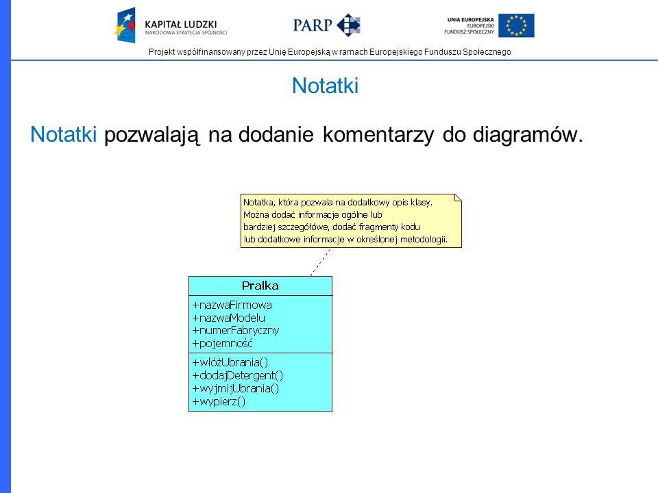Notatki Notatki pozwalają na dodanie komentarzy do diagramów.