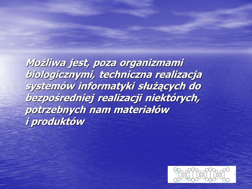 Możliwa jest, poza organizmami biologicznymi, techniczna realizacja systemów informatyki służących do bezpośredniej realizacji niektórych, potrzebnych nam materiałów i produktów