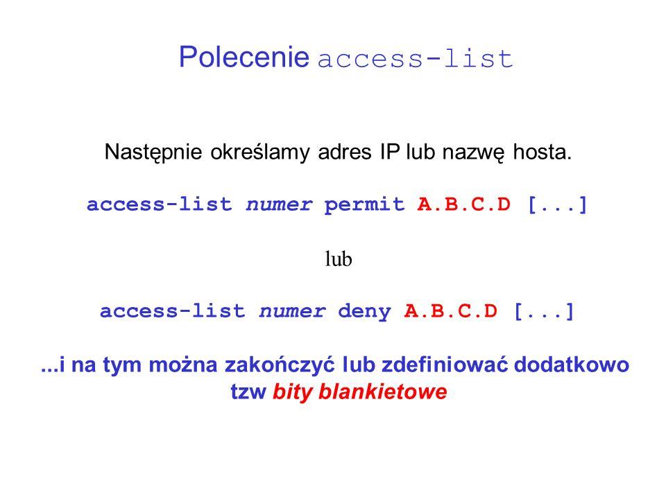 Polecenie access-list