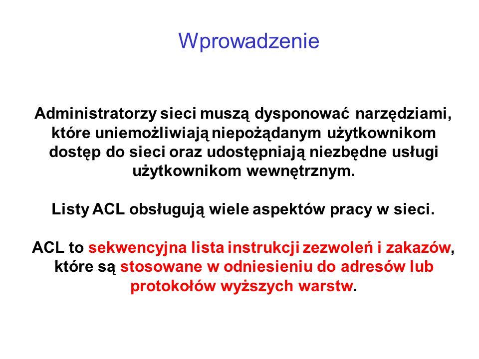 Listy ACL obsługują wiele aspektów pracy w sieci.