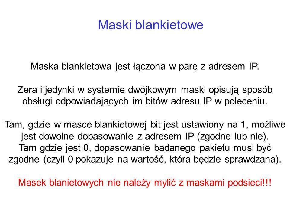 Maski blankietowe Maska blankietowa jest łączona w parę z adresem IP.