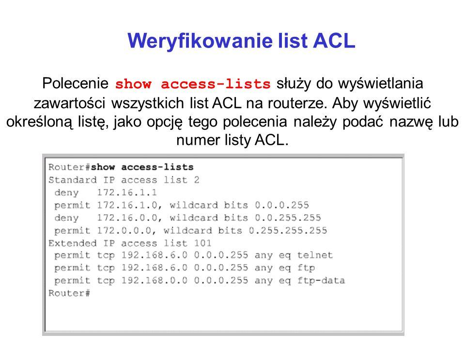 Weryfikowanie list ACL