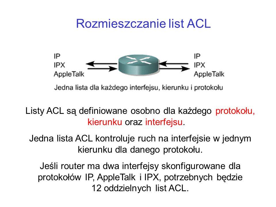 Rozmieszczanie list ACL