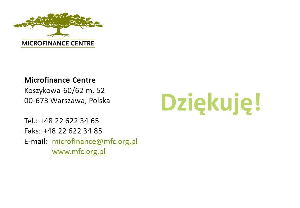 Dziękuję! Microfinance Centre Koszykowa 60/62 m. 52