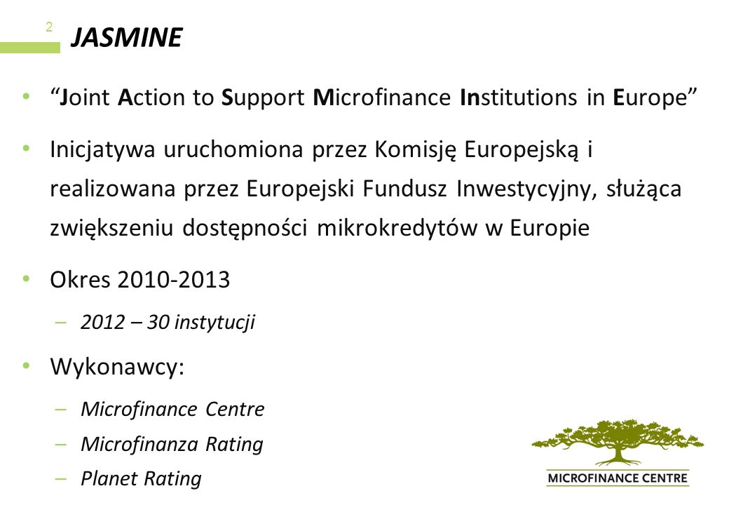 JASMINE Joint Action to Support Microfinance Institutions in Europe