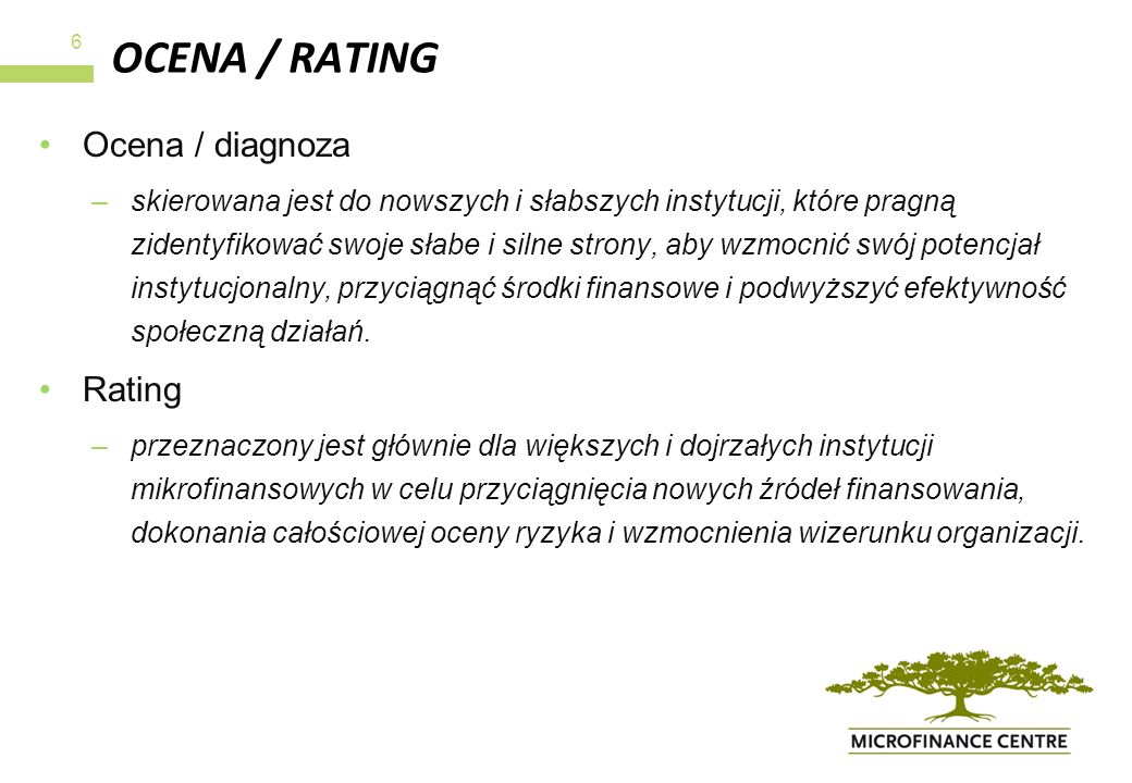 OCENA / RATING Ocena / diagnoza Rating