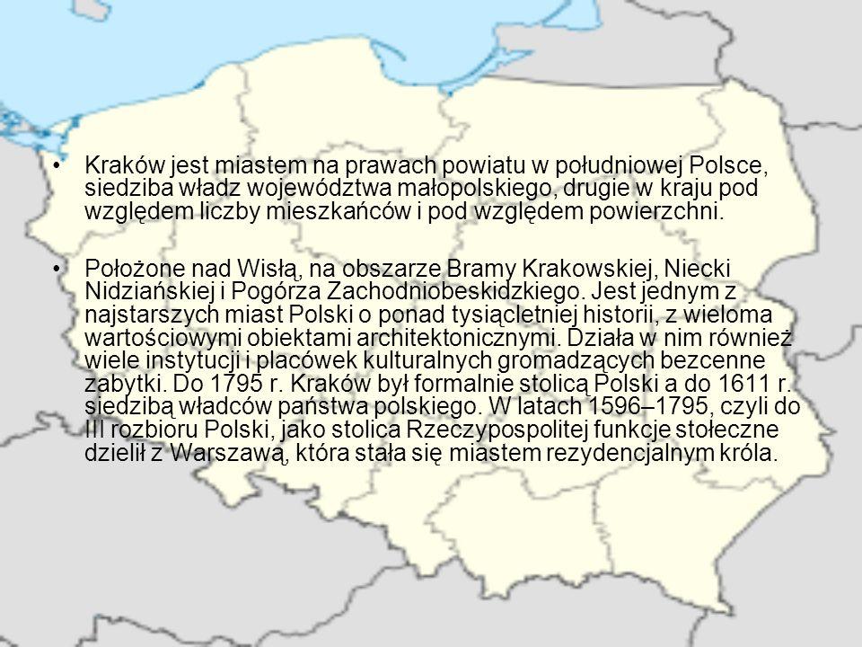 Kraków jest miastem na prawach powiatu w południowej Polsce, siedziba władz województwa małopolskiego, drugie w kraju pod względem liczby mieszkańców i pod względem powierzchni.