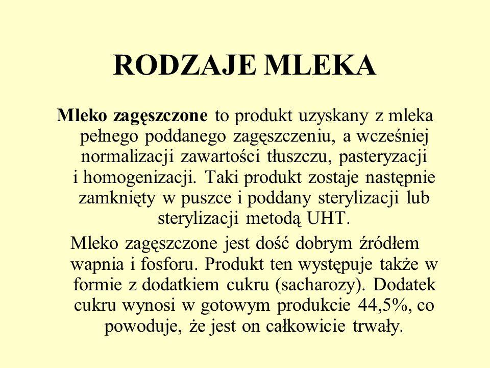 RODZAJE MLEKA