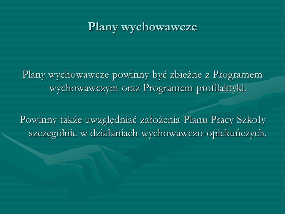 Plany wychowawcze Plany wychowawcze powinny być zbieżne z Programem wychowawczym oraz Programem profilaktyki.