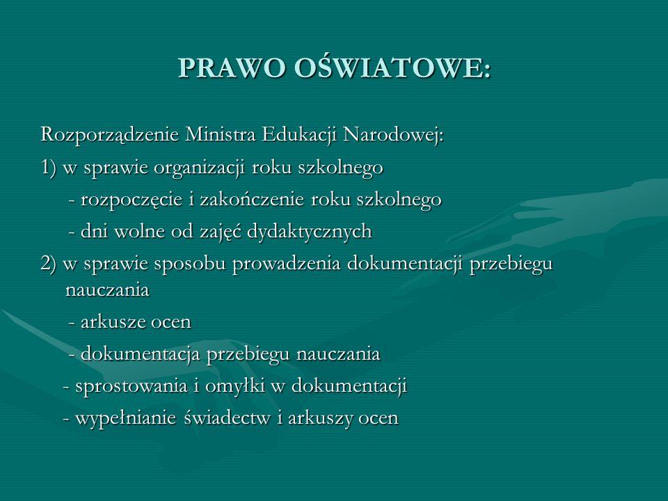 PRAWO OŚWIATOWE: Rozporządzenie Ministra Edukacji Narodowej: