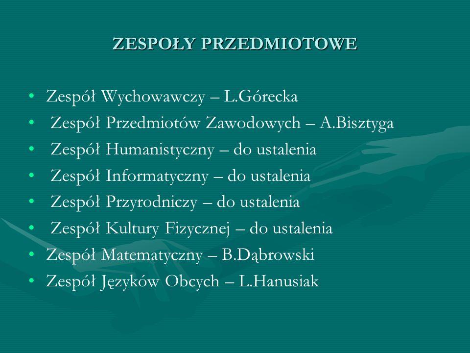 ZESPOŁY PRZEDMIOTOWE Zespół Wychowawczy – L.Górecka. Zespół Przedmiotów Zawodowych – A.Bisztyga. Zespół Humanistyczny – do ustalenia.