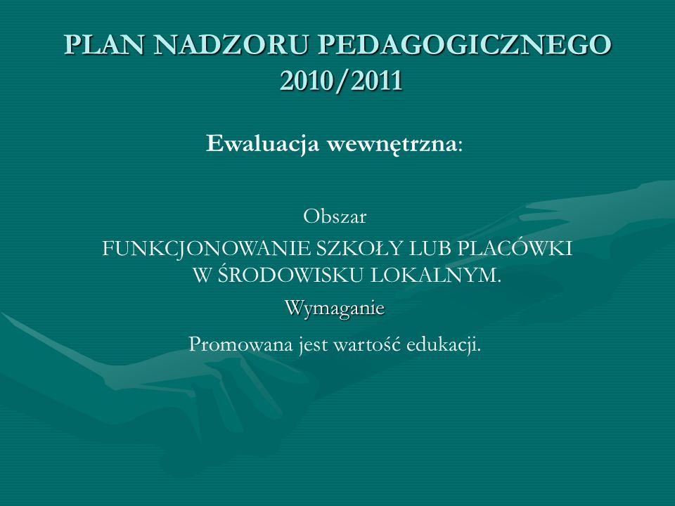 PLAN NADZORU PEDAGOGICZNEGO 2010/2011