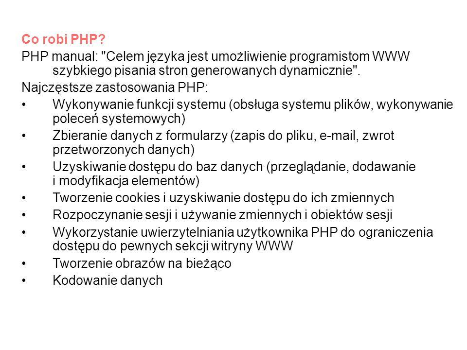 Co robi PHP PHP manual: Celem języka jest umożliwienie programistom WWW szybkiego pisania stron generowanych dynamicznie .