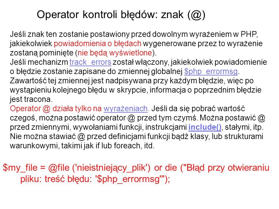Operator kontroli błędów: znak (@)