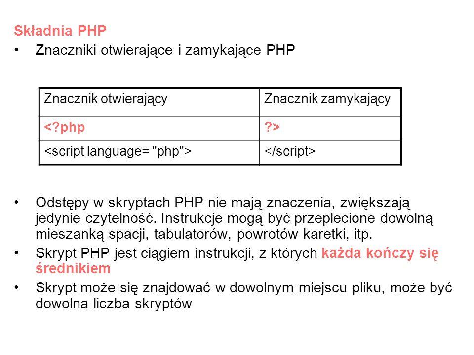Znaczniki otwierające i zamykające PHP
