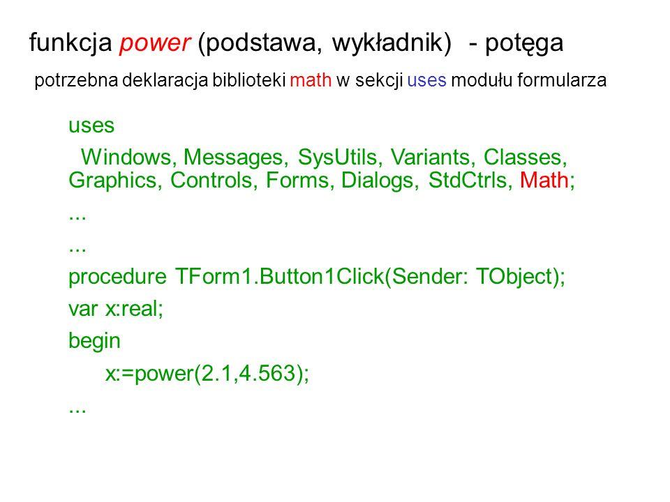 funkcja power (podstawa, wykładnik) - potęga