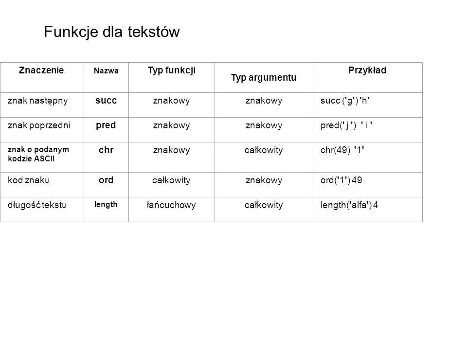 Funkcje dla tekstów Znaczenie Typ funkcji Typ argumentu Przykład