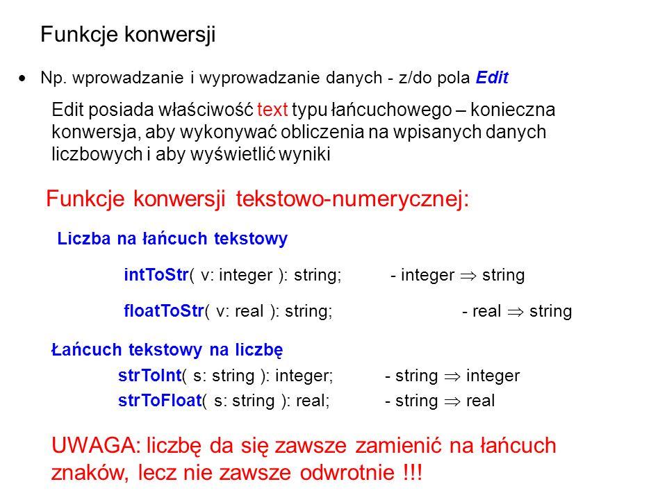 Funkcje konwersji tekstowo-numerycznej: