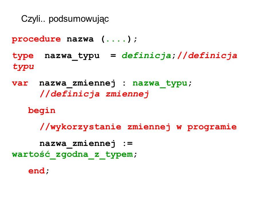 Czyli.. podsumowując procedure nazwa (....); type nazwa_typu = definicja; //definicja typu.