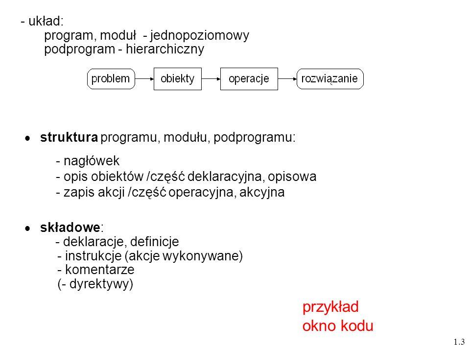 przykład okno kodu układ: program, moduł - jednopoziomowy