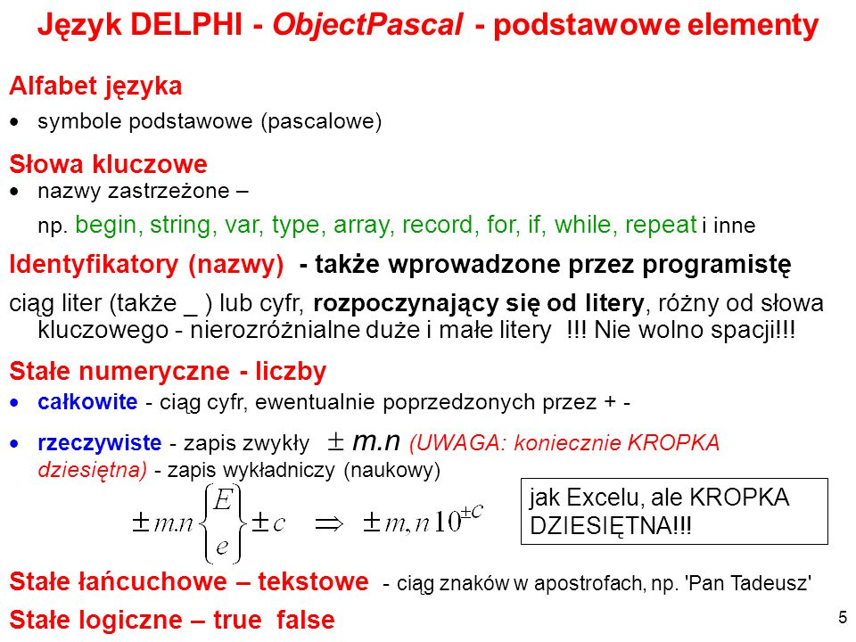 Język DELPHI - ObjectPascal - podstawowe elementy