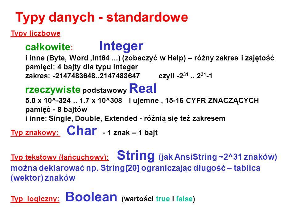Typy danych - standardowe
