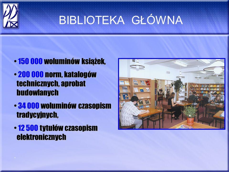 BIBLIOTEKA GŁÓWNA 150 000 woluminów książek, 200 000 norm, katalogów