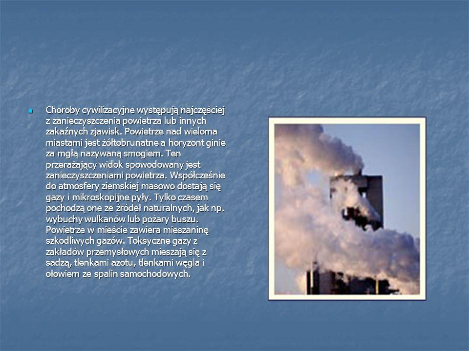 Choroby cywilizacyjne występują najczęściej z zanieczyszczenia powietrza lub innych zakaźnych zjawisk.