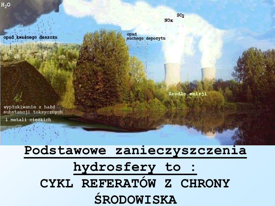 Podstawowe zanieczyszczenia hydrosfery to : CYKL REFERATÓW Z CHRONY ŚRODOWISKA
