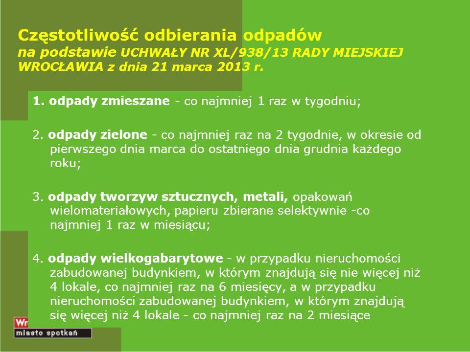 Częstotliwość odbierania odpadów na podstawie UCHWAŁY NR XL/938/13 RADY MIEJSKIEJ WROCŁAWIA z dnia 21 marca 2013 r.