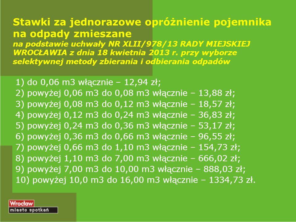 Stawki za jednorazowe opróżnienie pojemnika na odpady zmieszane na podstawie uchwały NR XLII/978/13 RADY MIEJSKIEJ WROCŁAWIA z dnia 18 kwietnia 2013 r. przy wyborze selektywnej metody zbierania i odbierania odpadów