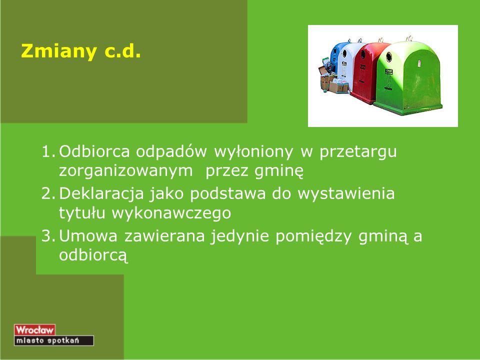 Zmiany c.d. Odbiorca odpadów wyłoniony w przetargu zorganizowanym przez gminę. Deklaracja jako podstawa do wystawienia tytułu wykonawczego.