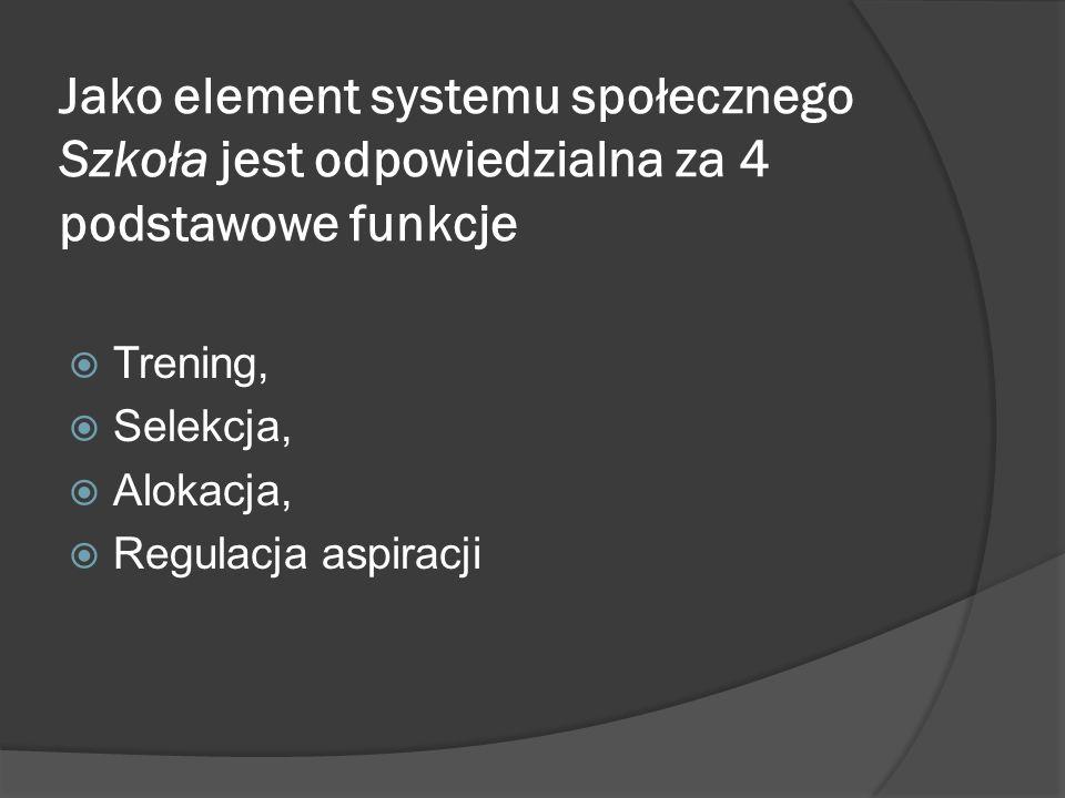 Jako element systemu społecznego Szkoła jest odpowiedzialna za 4 podstawowe funkcje