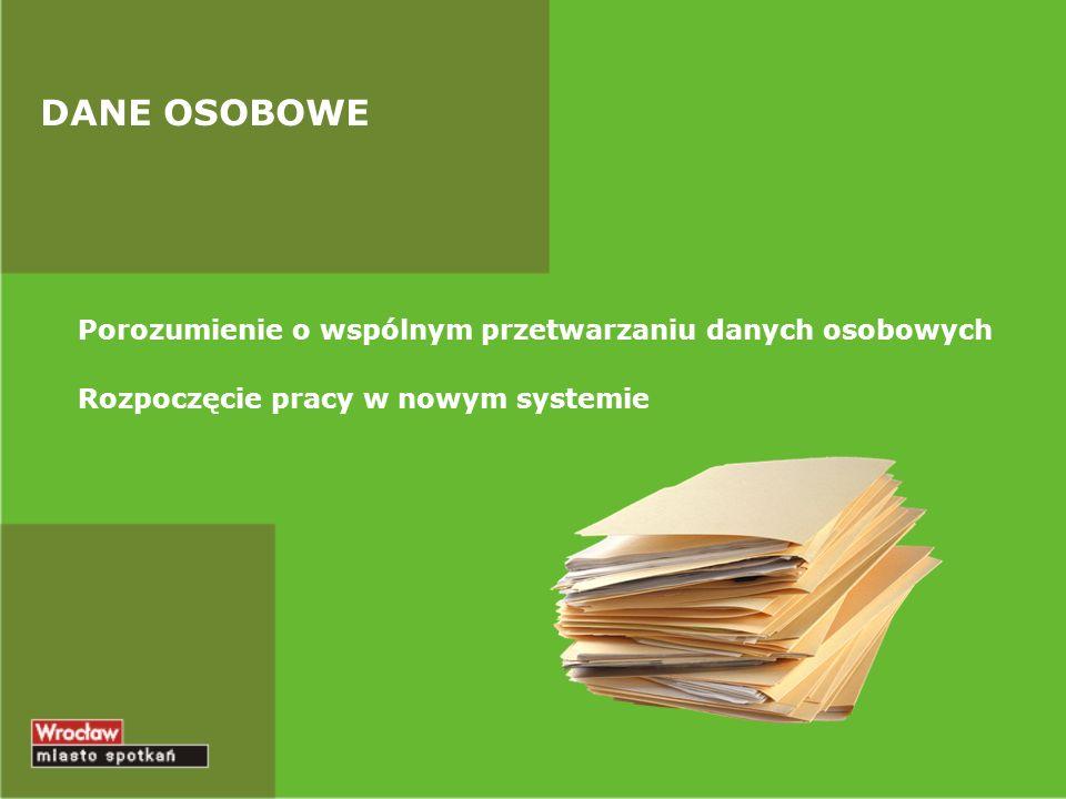 DANE OSOBOWE Porozumienie o wspólnym przetwarzaniu danych osobowych Rozpoczęcie pracy w nowym systemie