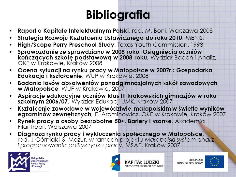 Bibliografia Raport o Kapitale Intelektualnym Polski, red. M. Boni, Warszawa 2008. Strategia Rozwoju Kształcenia Ustawicznego do roku 2010, MENiS,