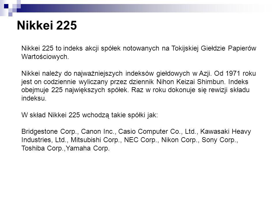 Nikkei 225 Nikkei 225 to indeks akcji spółek notowanych na Tokijskiej Giełdzie Papierów Wartościowych.