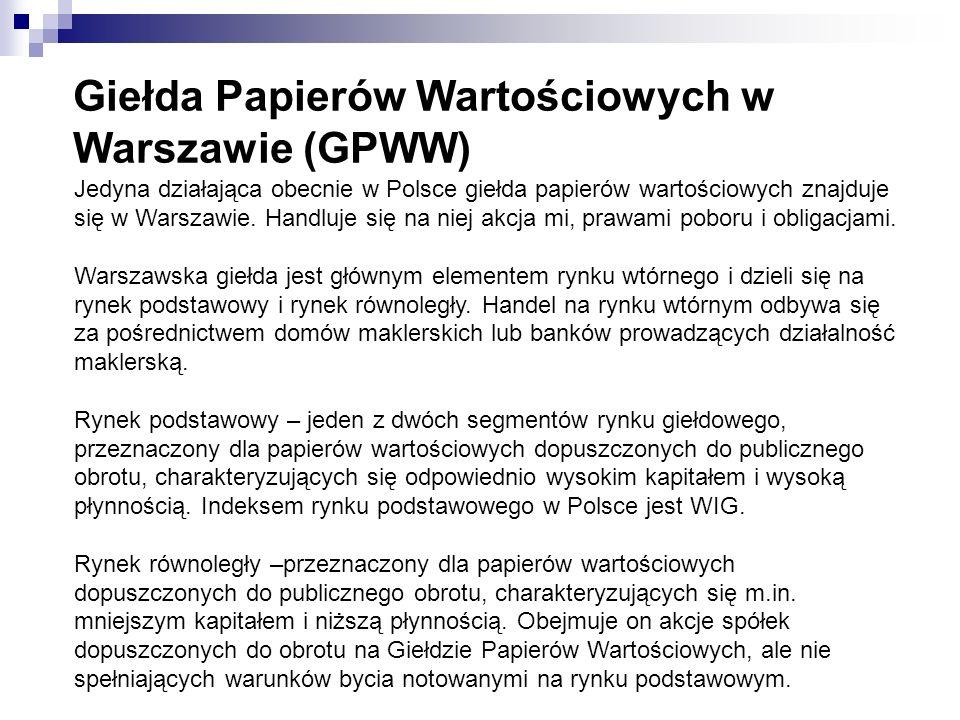 Giełda Papierów Wartościowych w Warszawie (GPWW)