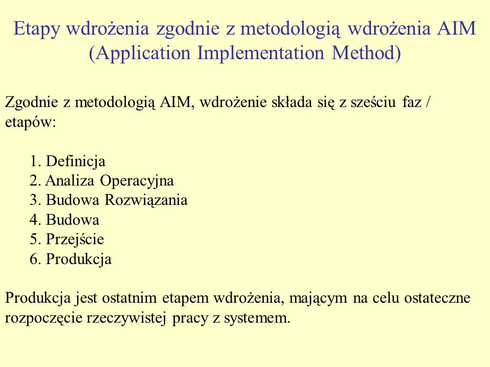 Etapy wdrożenia zgodnie z metodologią wdrożenia AIM (Application Implementation Method)