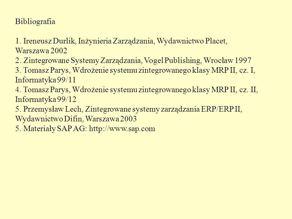 Bibliografia 1. Ireneusz Durlik, Inżynieria Zarządzania, Wydawnictwo Placet, Warszawa 2002.