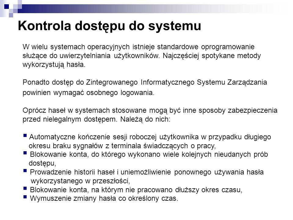 Kontrola dostępu do systemu