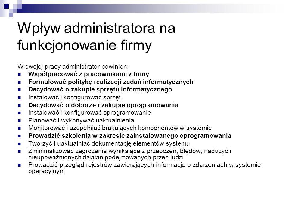 Wpływ administratora na funkcjonowanie firmy