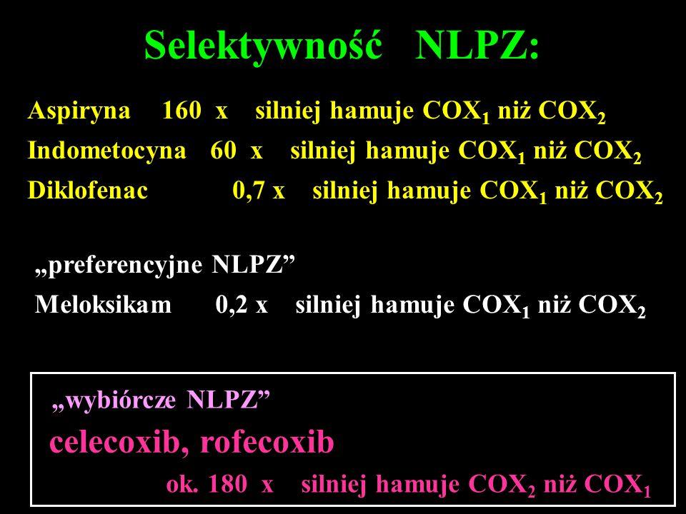 Selektywność NLPZ: celecoxib, rofecoxib