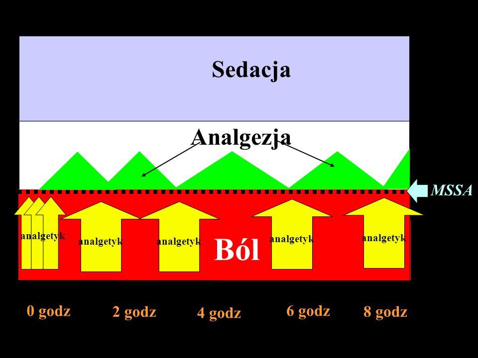 Ból Sedacja Analgezja 0 godz 2 godz 4 godz 6 godz 8 godz MSSA