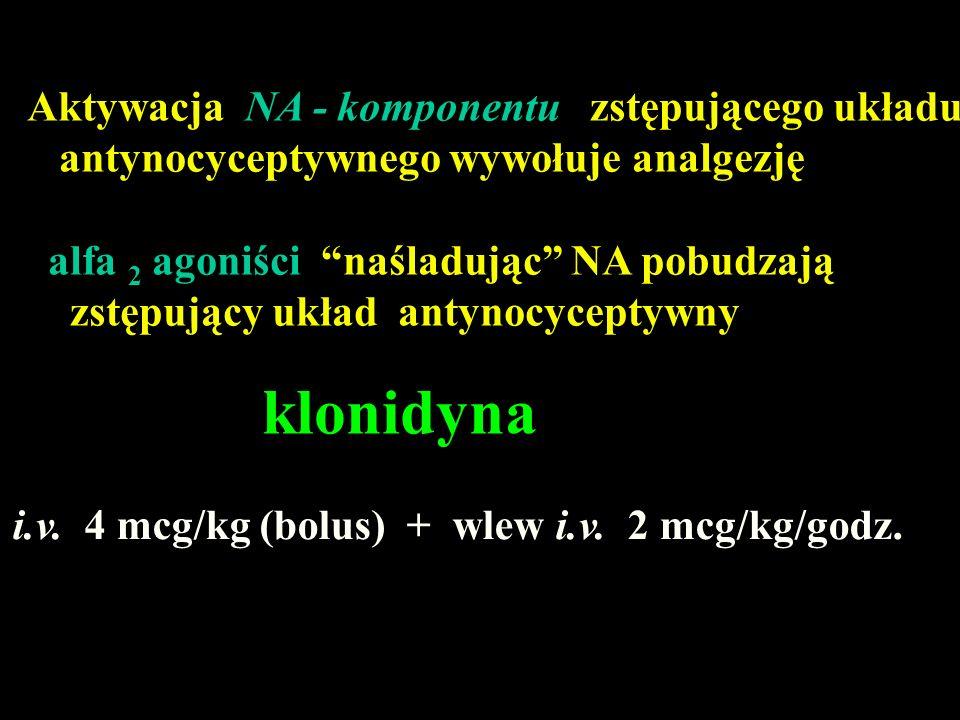 klonidyna Aktywacja NA - komponentu zstępującego układu