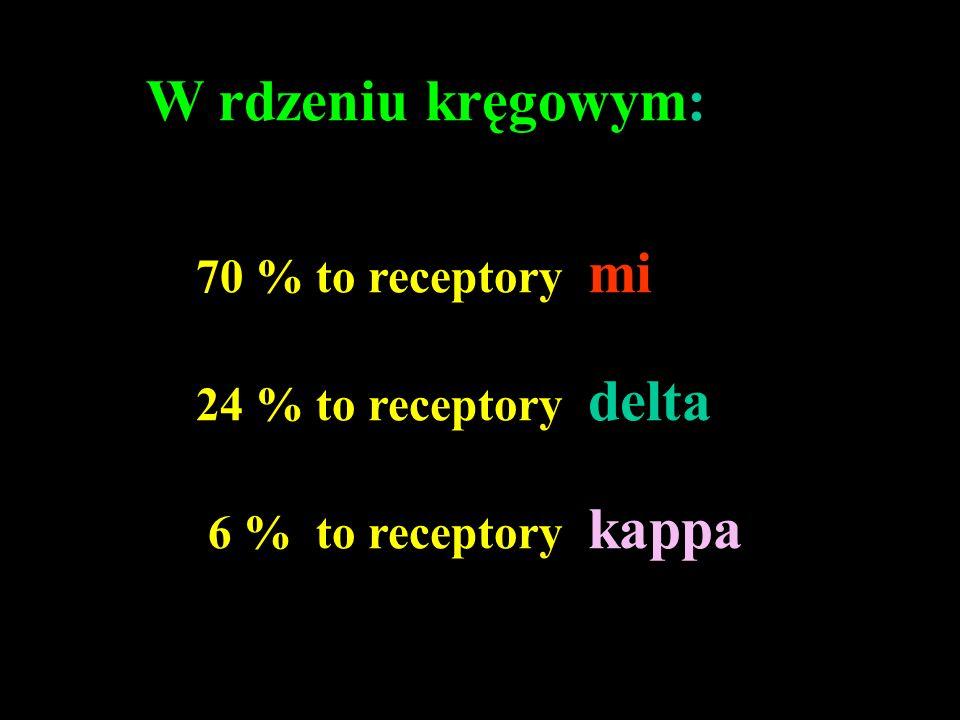 W rdzeniu kręgowym: 70 % to receptory mi 24 % to receptory delta
