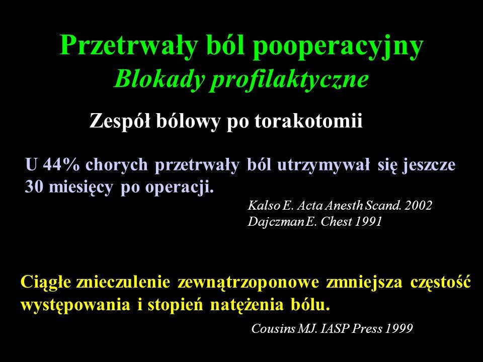 Przetrwały ból pooperacyjny Blokady profilaktyczne
