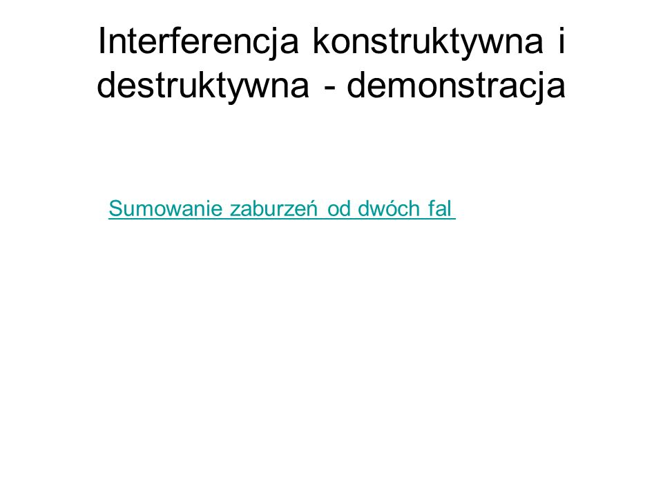 Interferencja konstruktywna i destruktywna - demonstracja